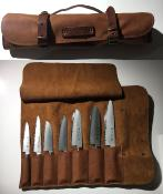 MALLETTE DE TRANSPORT DE 7 COUTEAUX EN CUIR CRAFTED - COGNAC